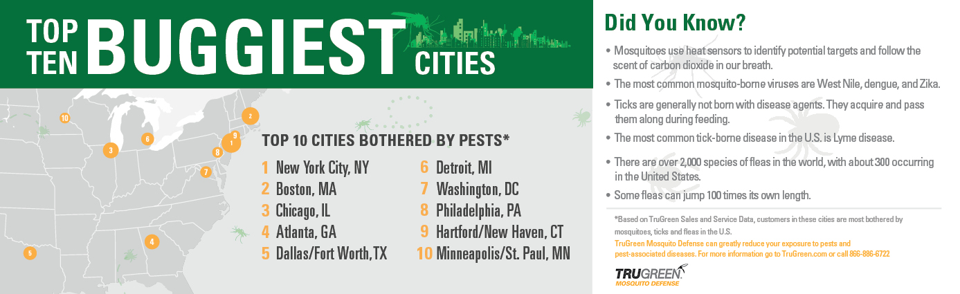 List Of U.S. Buggiest Cities 2020 | TruGreen Image