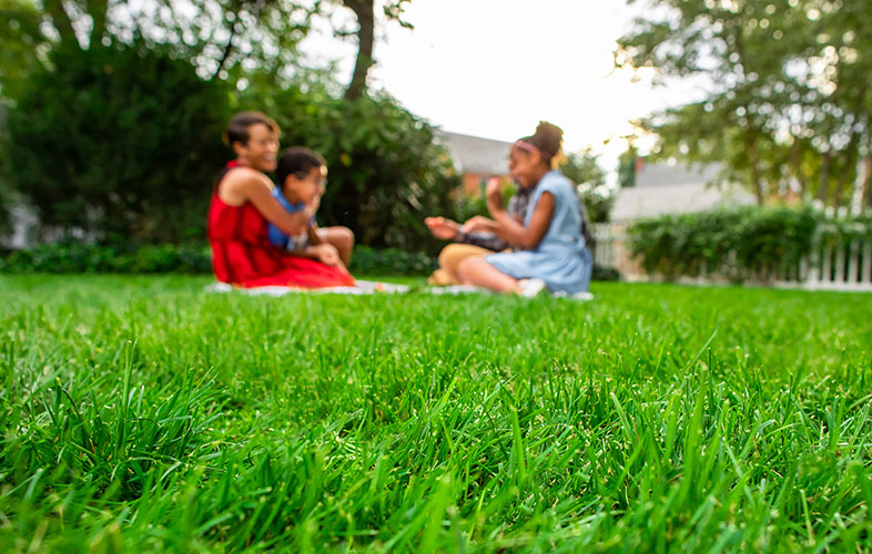 family enjoying time on lawn