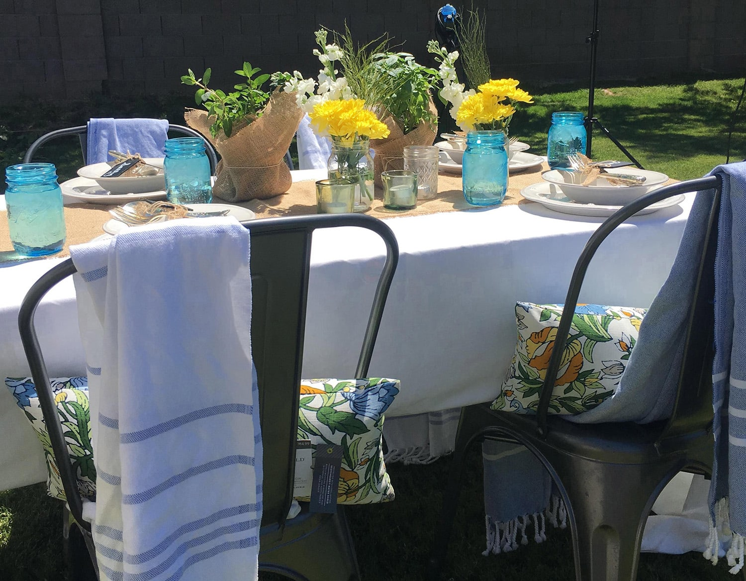 <p>backyard party table setup</p>