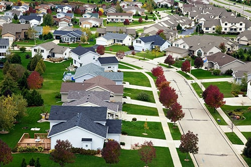 <p>Neighborhood lawns in the Midwest</p>